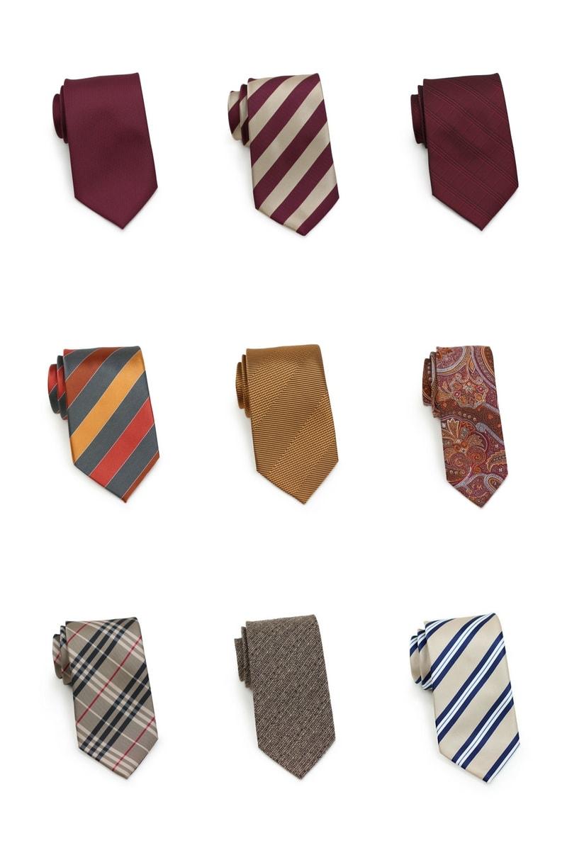 Burgundy, Orange, Gold, Tan Fall Neckties
