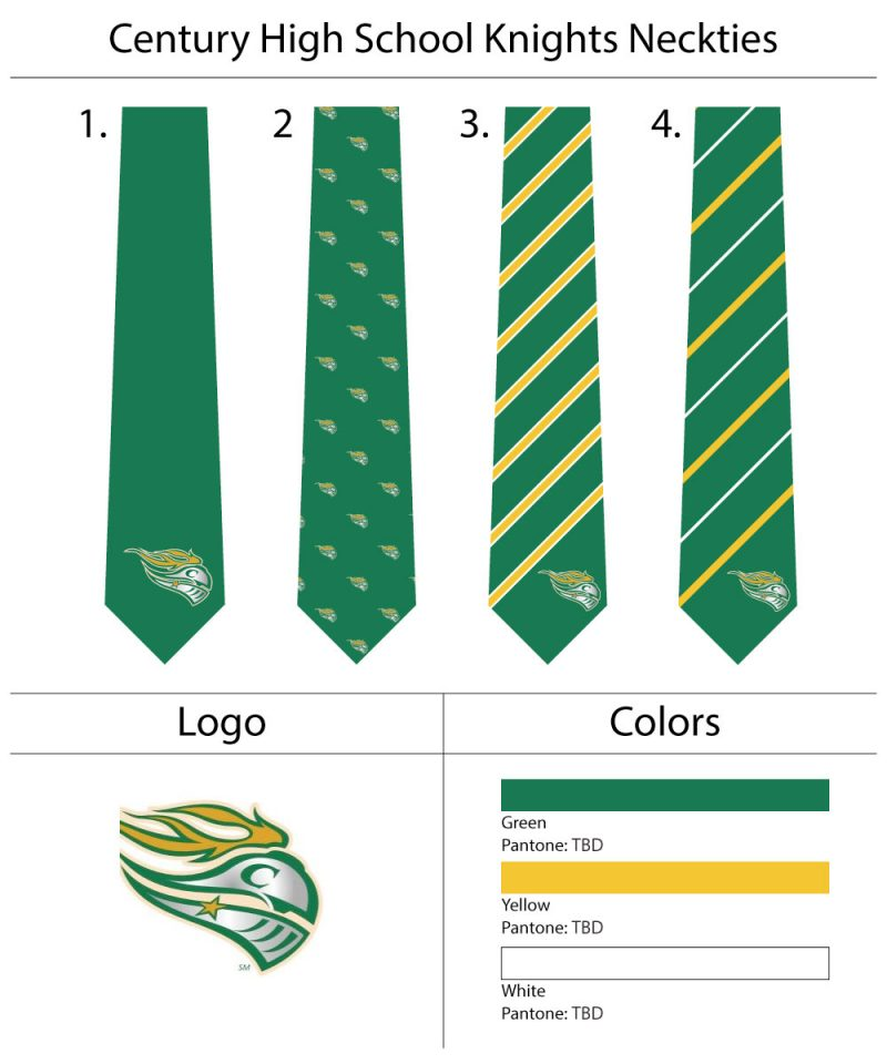 high school mascot neckties custom design