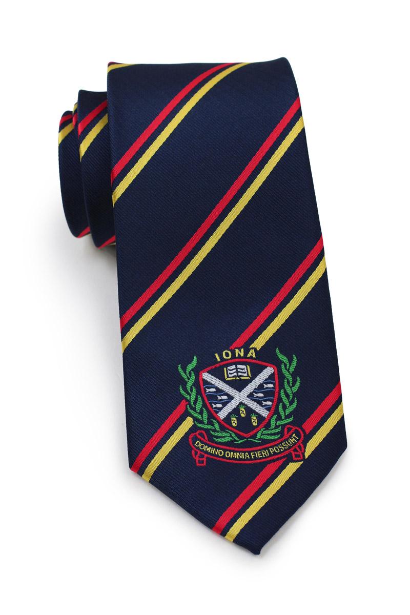 crested repp stripe logo neckties