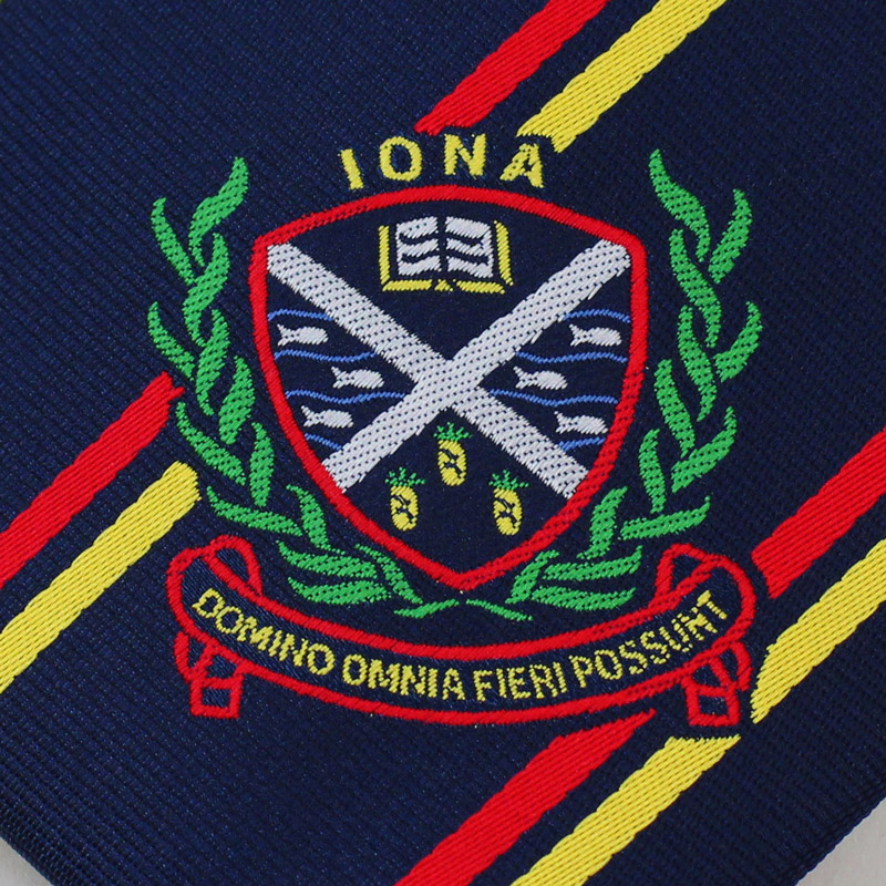 woven crest on custom neckties