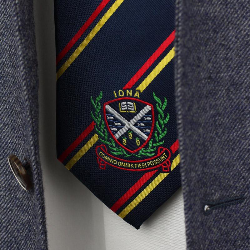 custom rugby stripe crested logo ties