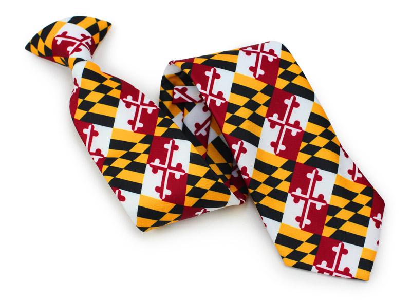 custom clip on ties with Maryland flag
