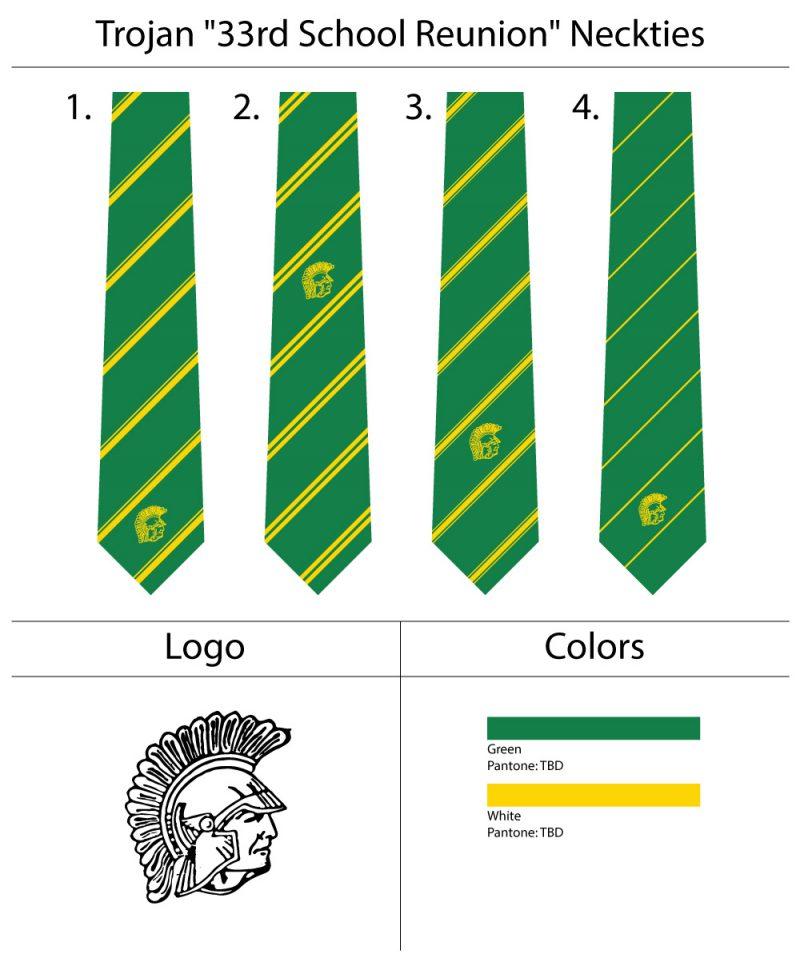 custom kelly green and yellow logo ties
