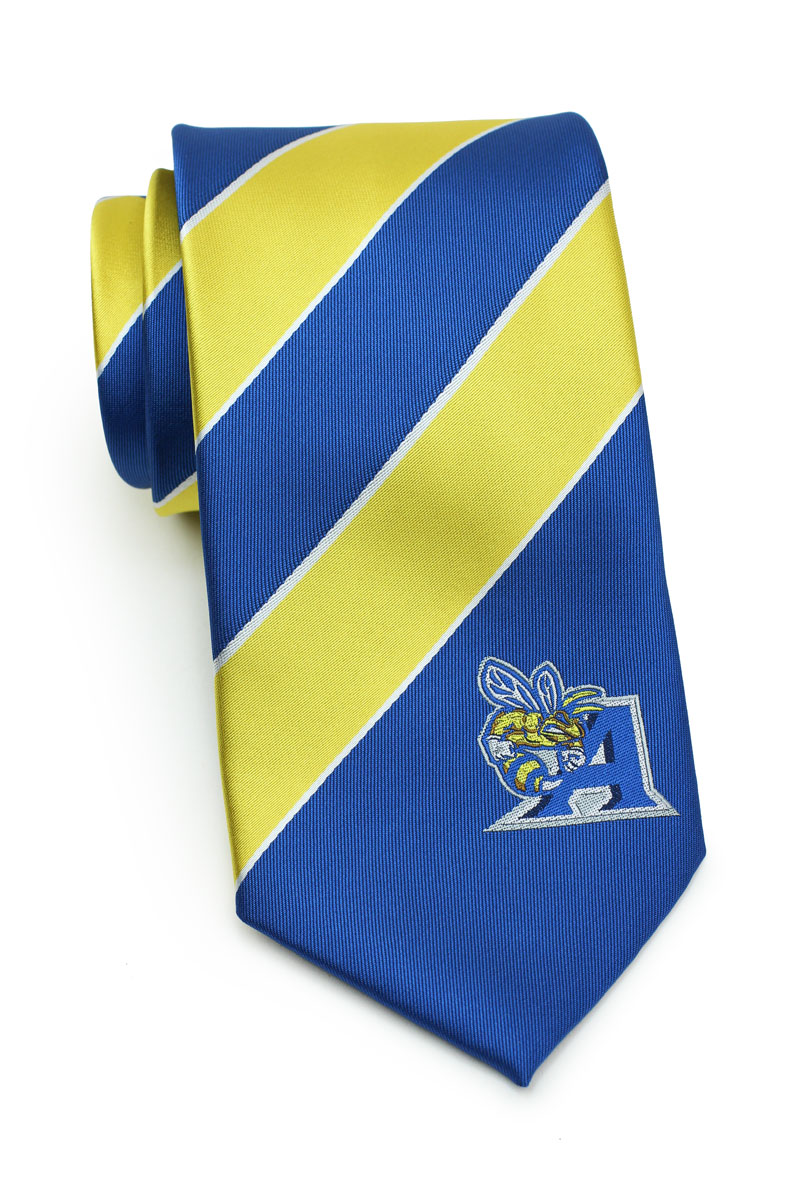 striped ties in yellow and blue with logo