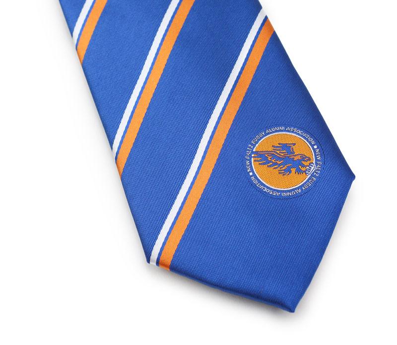 custom logo tie in blue and orange