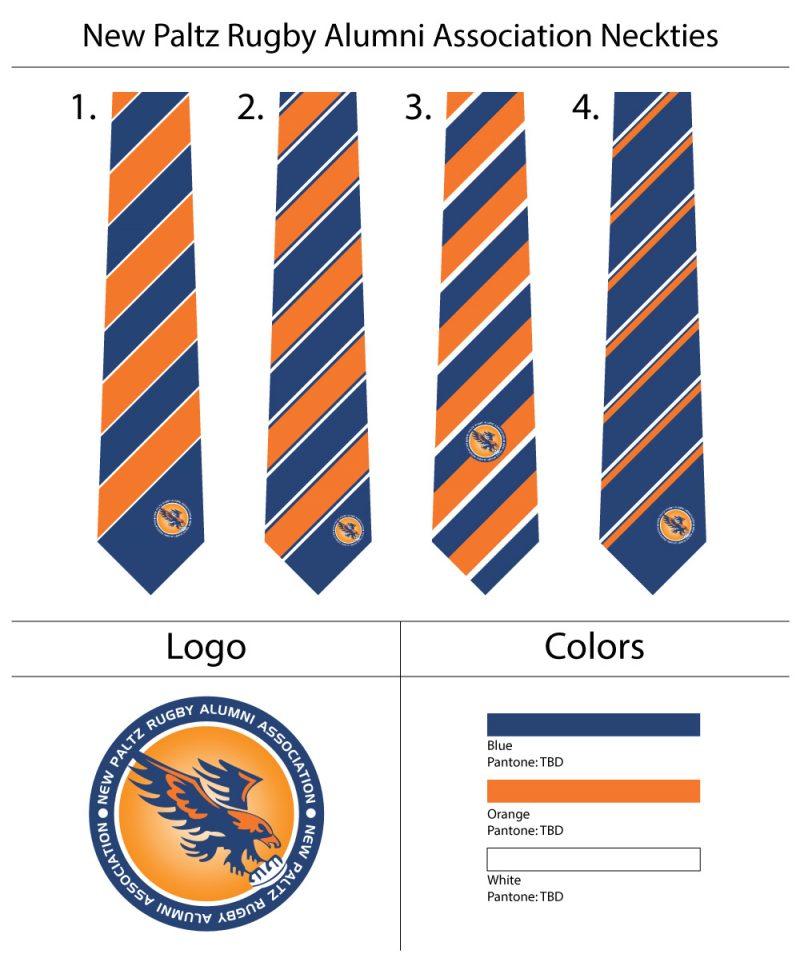 custom orange and blue logo necktie
