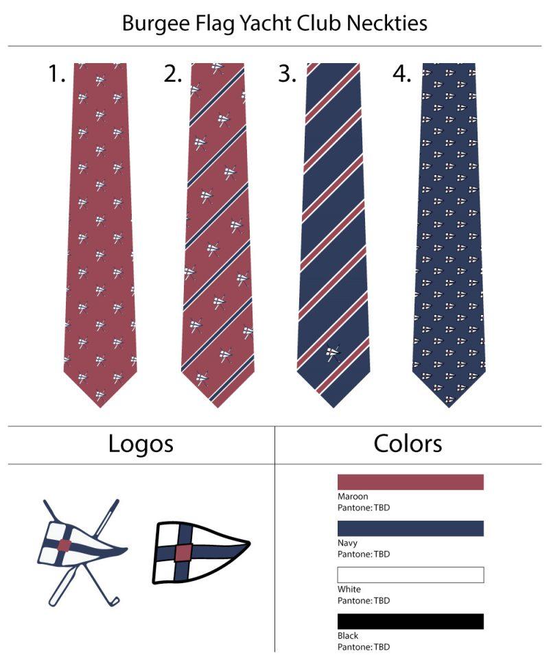 custom yacht club burgee neckties