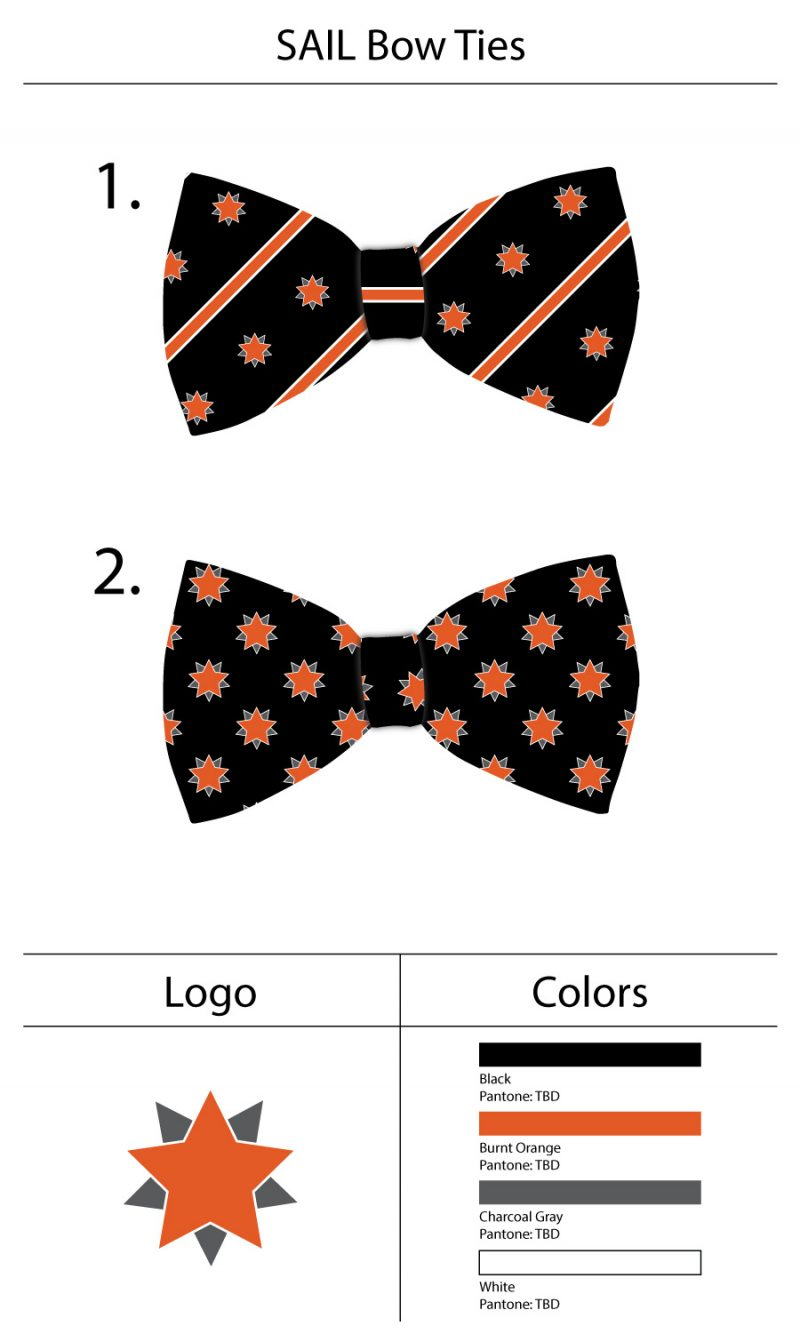 custom bow ties with logo in black and orange