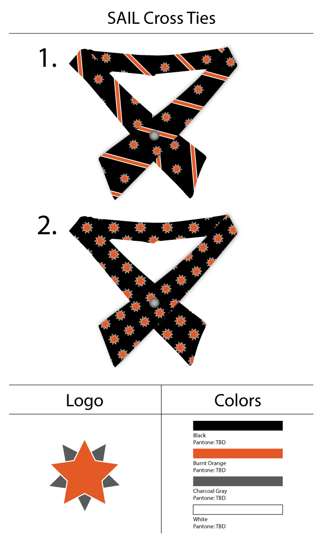 custom logo girls cross ties in black and orange