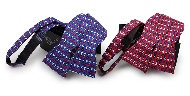 custom blue and red all over pattern logo bow ties