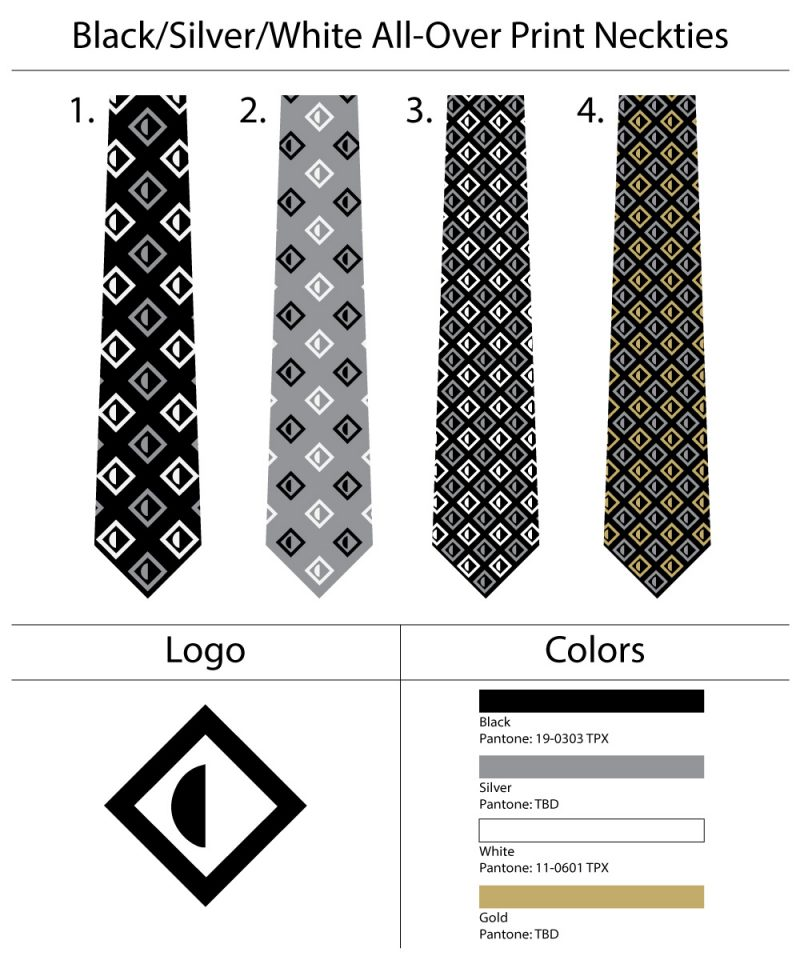 All over logo custom neckties