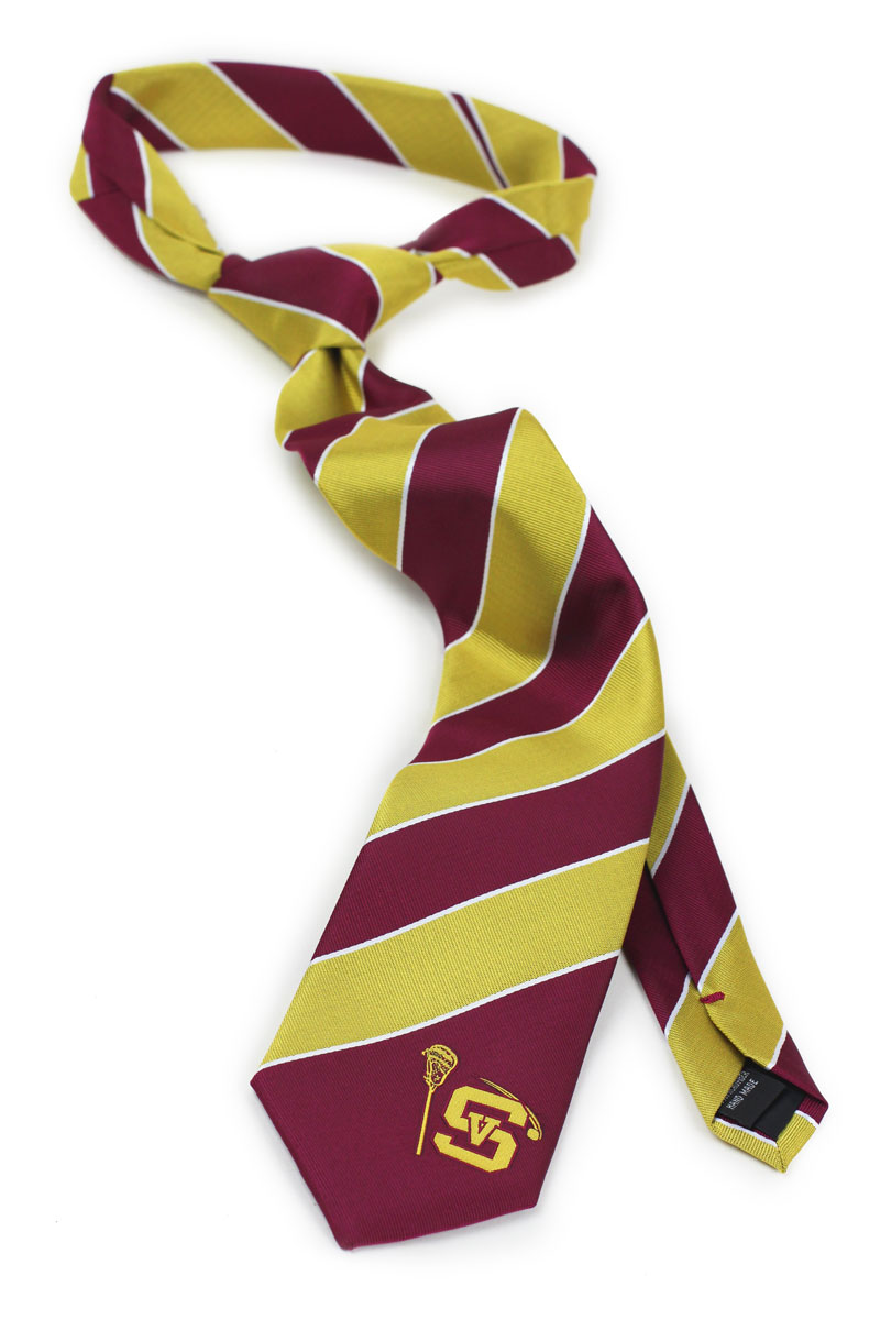 Custom lacrosse logo striped silk ties
