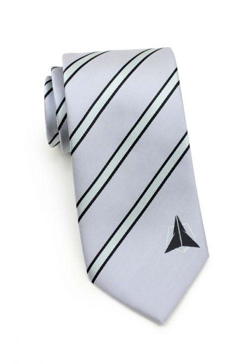 silver striped logo tie design 2