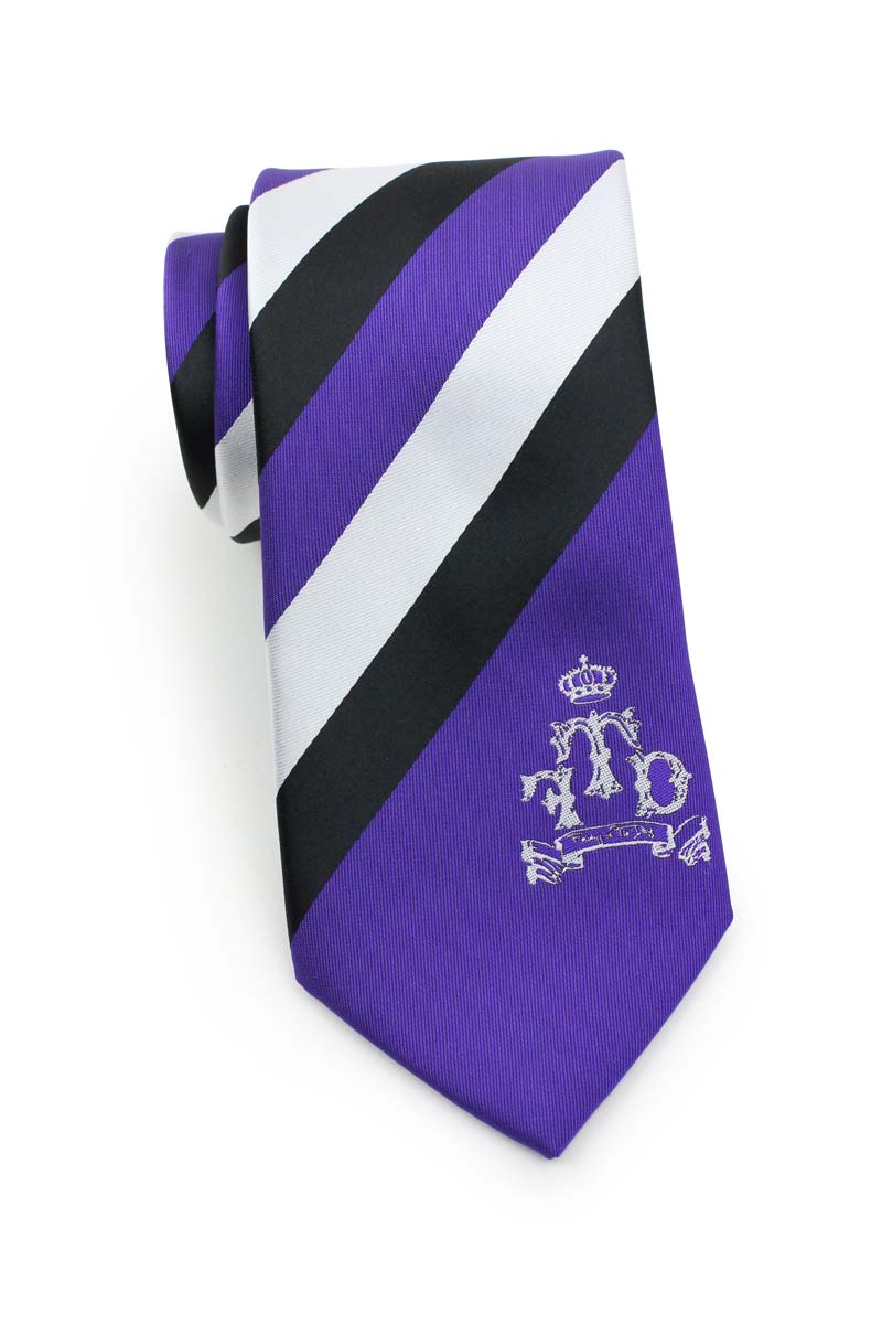 Personalized Purple and Gold School Stripe Tie with Embroidered Monogram