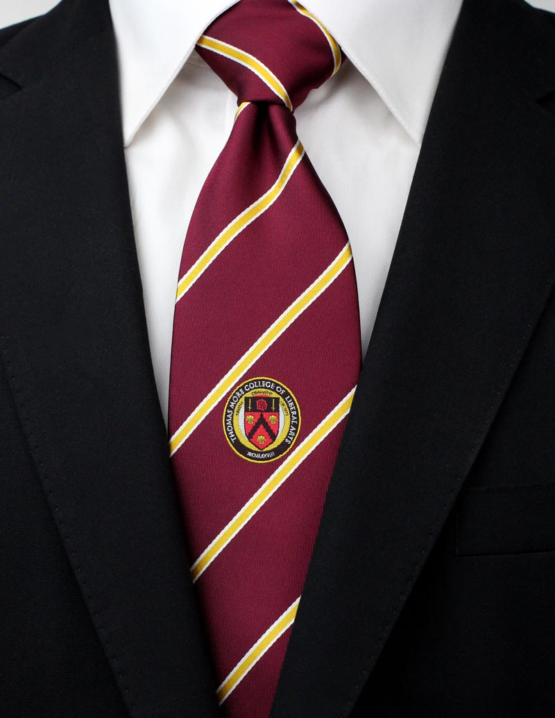 custom tie in burgundy and gold with embroidered logo