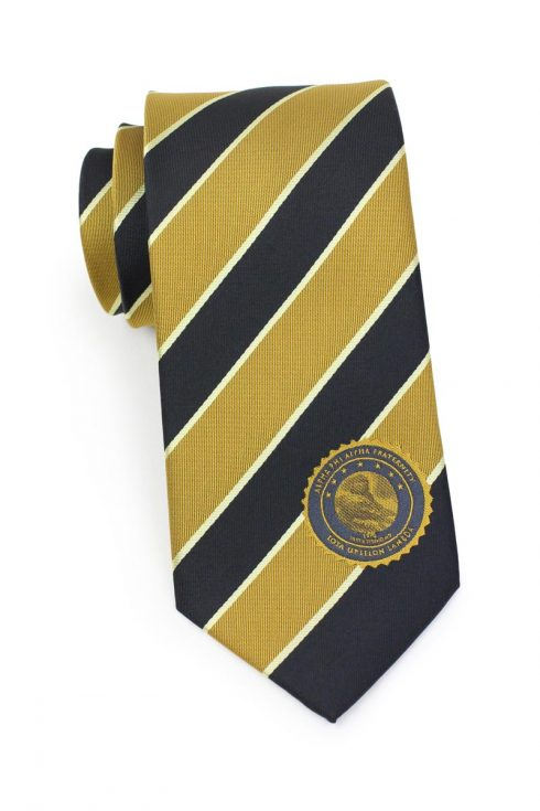 custom striped silk tie with logo