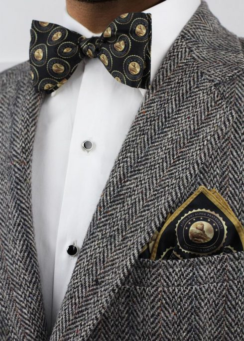 custom bow tie and matching pocket square