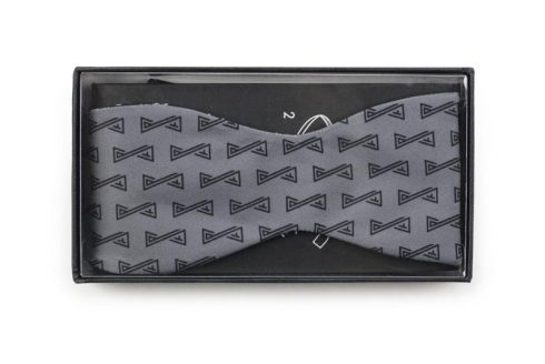 self-tied bow tie with logo